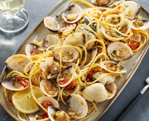 Spaghetti Vongole mit Safran