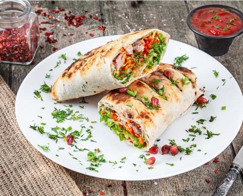 Falafel Pita Sandwich mit afghanischem Safran