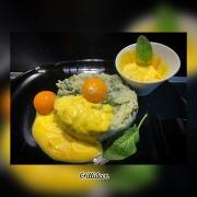 Safran-Creme mit Spinat-Risotto und Sous-vide gegarten Ei