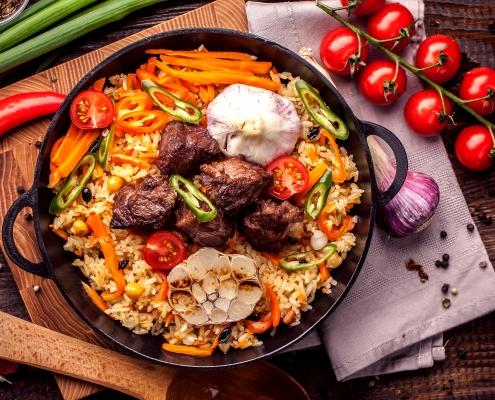 Usbekischer Reispilaf mit afghanischem Safran